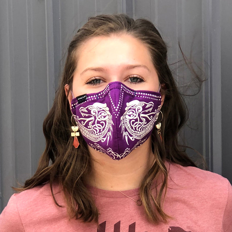 Face covers with handprinted Viking Dragon design