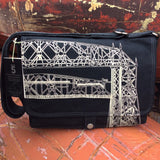 Handcrafted canvas messenger bag with original art print of the Duluth Aerial Lift Bridge