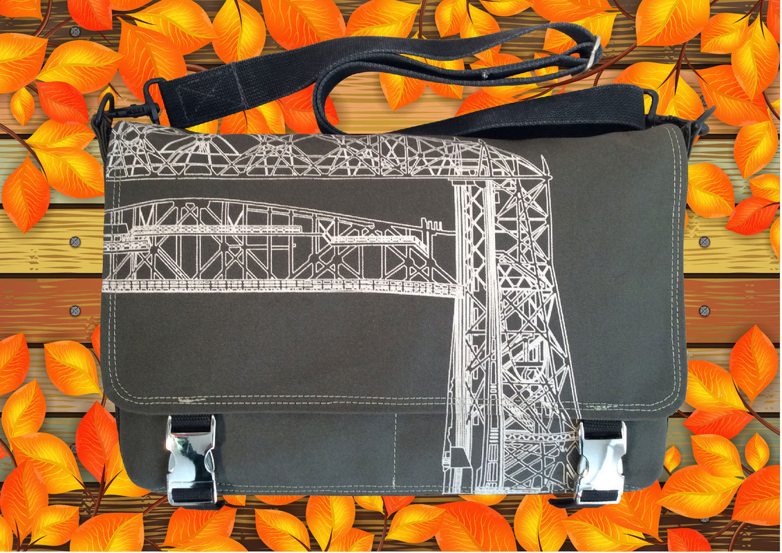 canvas laptop messenger bag with original art print of the Duluth Aerial Lift Bridge