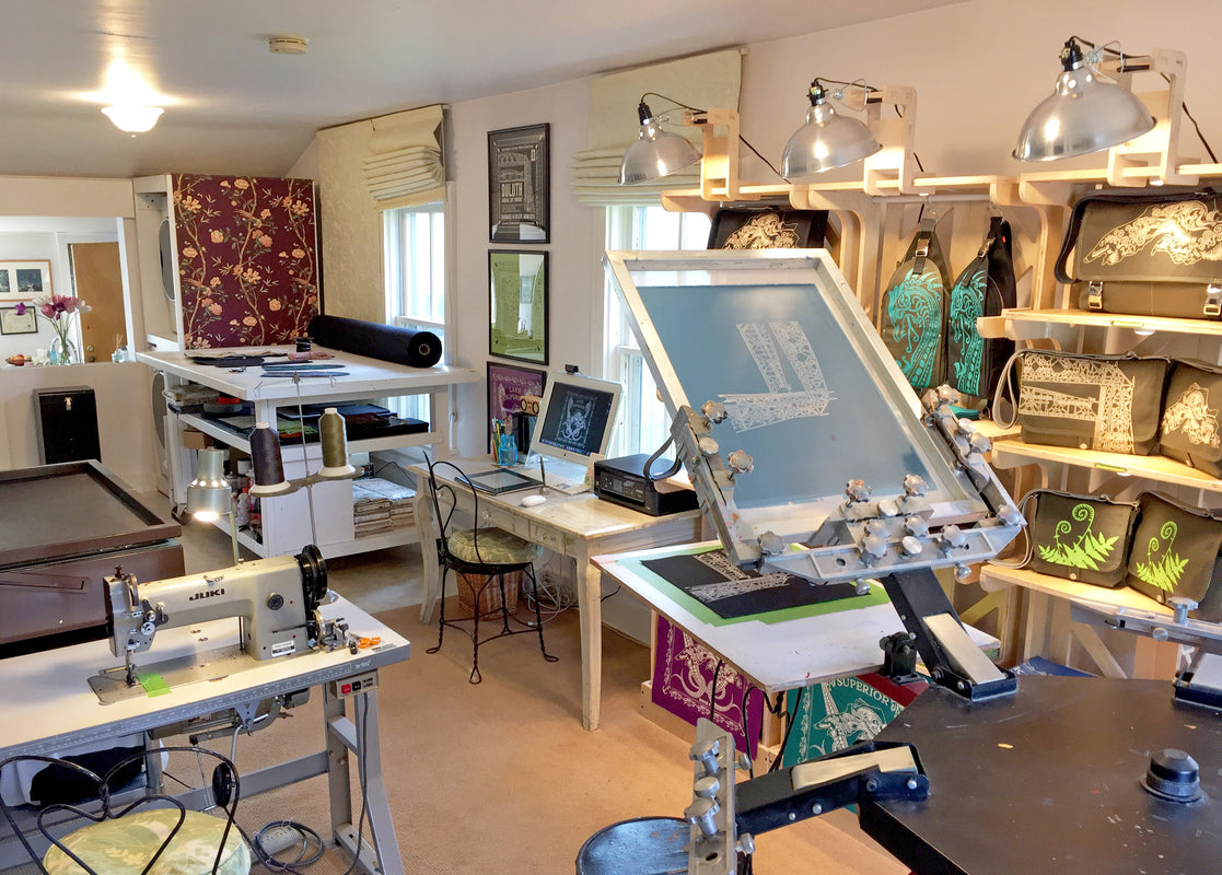 Dock 5 studio with screen printing and sewing machines to make canvas bags. Park Point, Duluth, Minnesota
