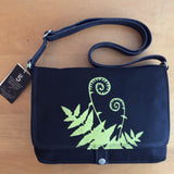 Handcrafted canvas messenger bag with original art print of a Fiddlehead Fern