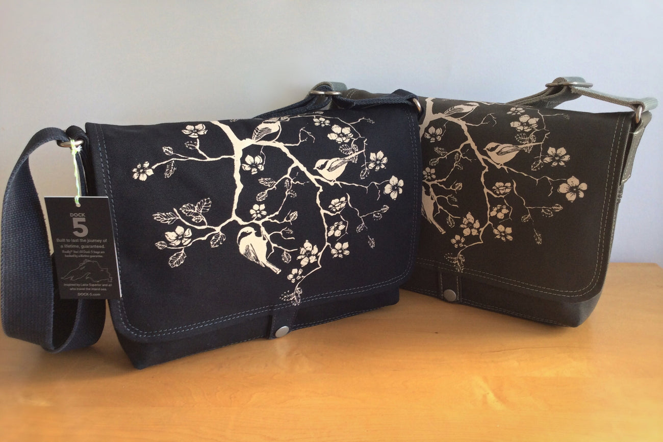 Handcrafted canvas messenger bag with original art print of three Chickadees