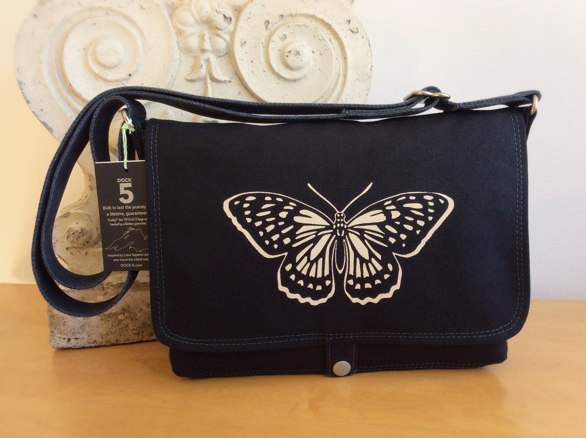Handcrafted canvas messenger bag with original art print of a yin yang Butterfly