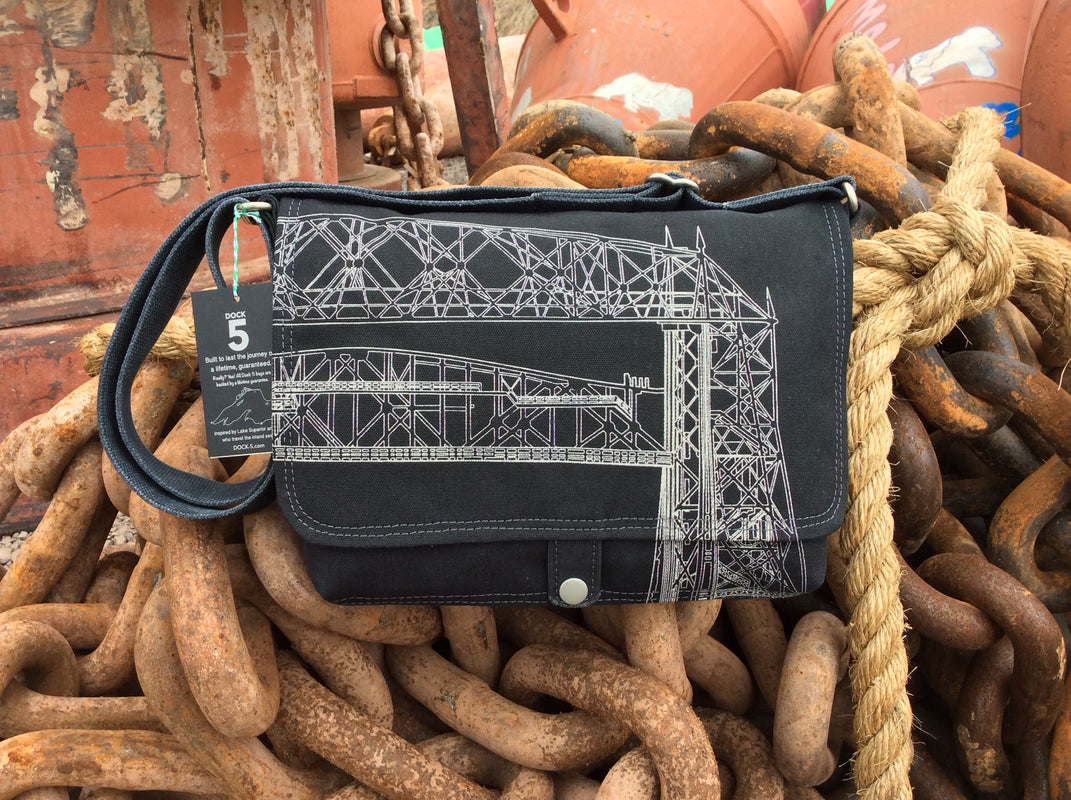 Dock 5 handcrafted Aerial Lift Bridge canvas messenger bag