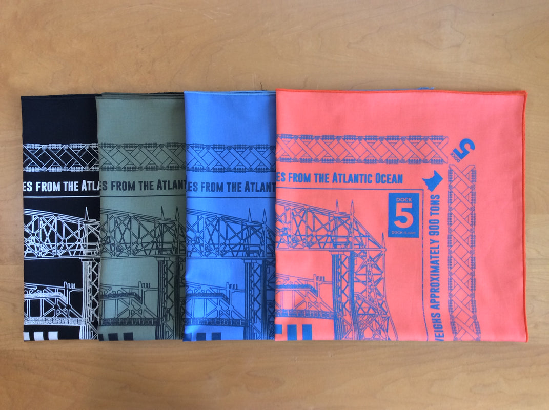 Handcrafted bandannas with Duluth Aerial Lift Bridge print