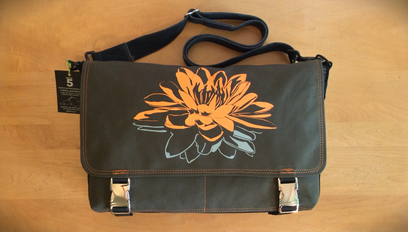 Handcrafted canvas laptop messenger bag with lotus print
