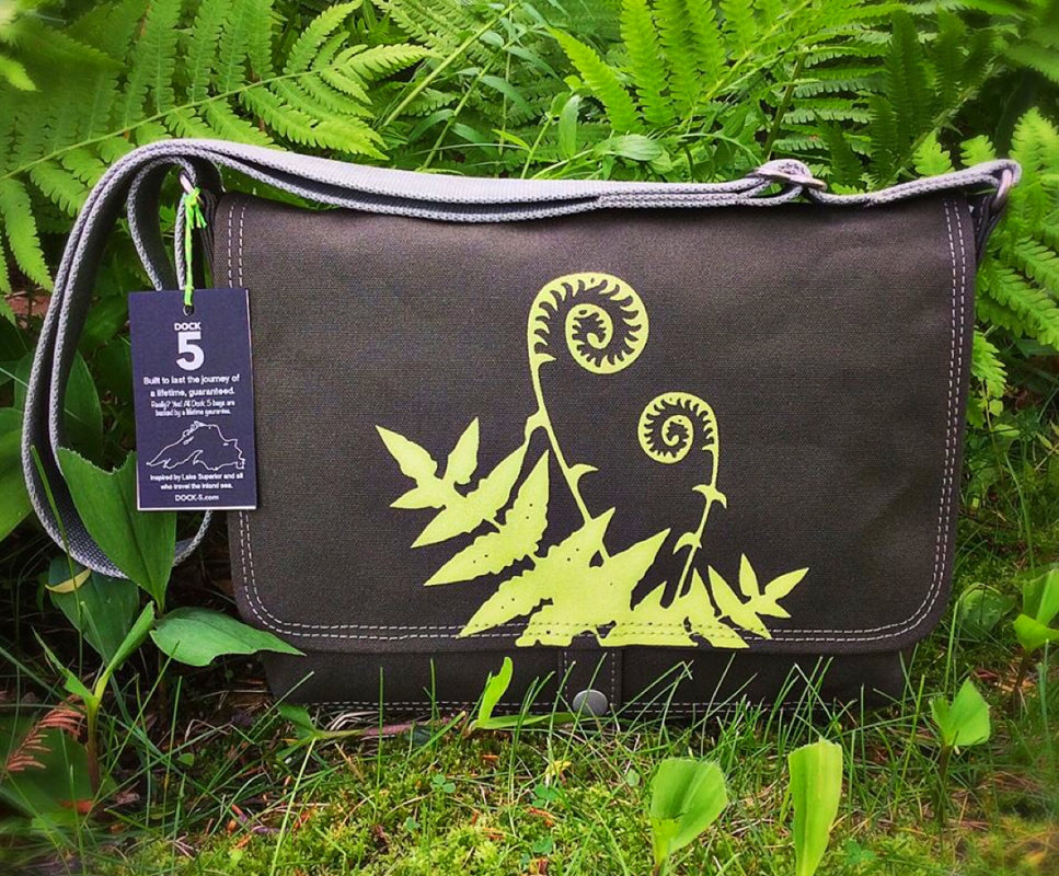 Handcrafted canvas messenger bag with fiddlehead fern print