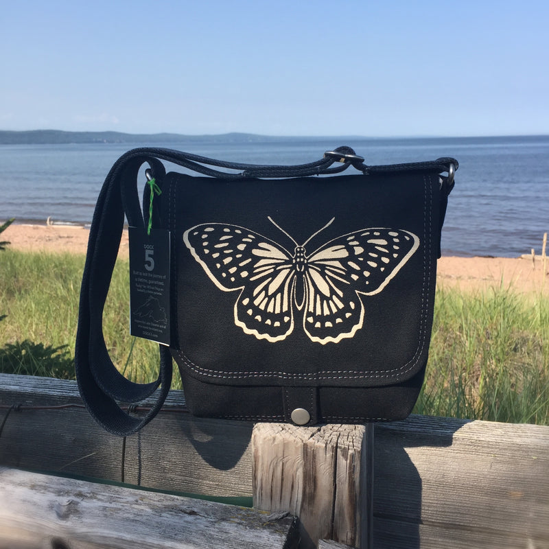 handcrafted canvas mini messenger bag with original art print of a monarch butterfly