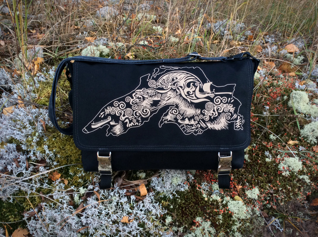 Handcrafted messenger laptop bag with Lake Superior art inspired by the Gales of November
