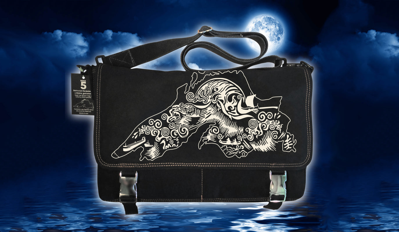 Handcrafted laptop messenger bag with unique art of Lake Superior during the Gales of November