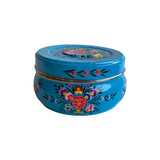 STEEL HANDPAINTED PURI BOX BLUE