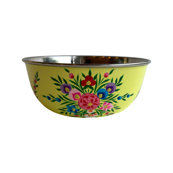 STEEL HANDPAINTED FRUIT BOWL 18CM YELLOW