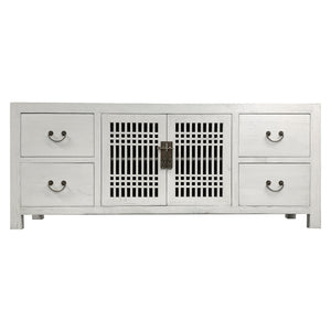 TV CONSOLE LATTICE 1.6M WHITE WASH MQZ-28