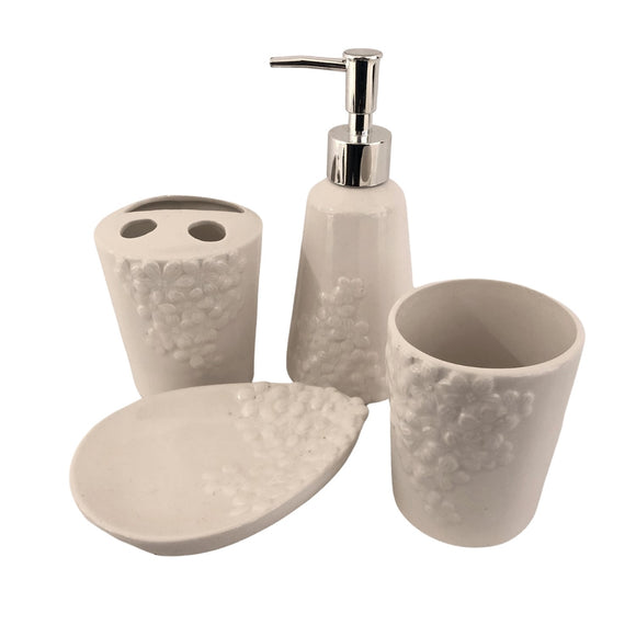BATHROOM SET FLOWER WHITE W5013