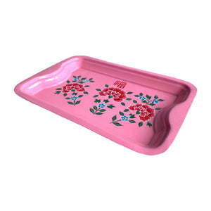 STEEL HAND PAINTED RECT TRAY (S) PINK