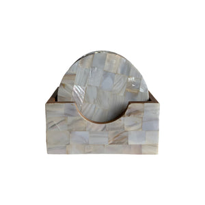 MOTHER OF PEARL COASTER SET 4""