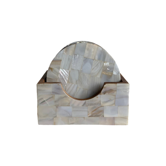 MOTHER OF PEARL COASTER SET 4