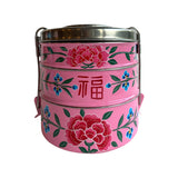 STEEL HANDPAINTED 3 TIER TIFFIN BOX PINK