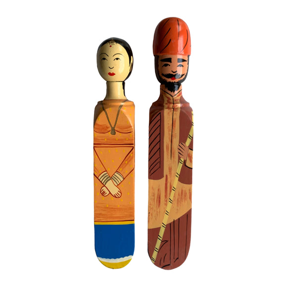 HANDPAINTED DOOR STOPPER PANJABI MAN AND WOMAN SET