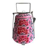 STEEL HAND PAINTED 3 TIER HANDI TIFFIN BOX PINK