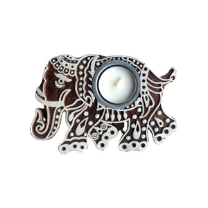 "MANGO WOOD CARVED TEALIGHT 4"" - ELEPHANT"