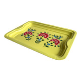 STEEL HAND PAINTED RECT TRAY (M) YELLOW