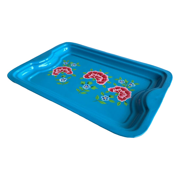 STEEL HAND PAINTED RECT TRAY (S) BLUE