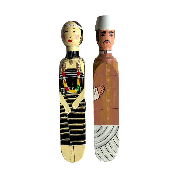 HANDPAINTED DOOR STOPPER UTTAR PRADESH MAN AND KUDAT WOMAN SET