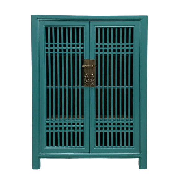 SHOE CABINET LATTICE 2DR TURQUOISE MQZ-07