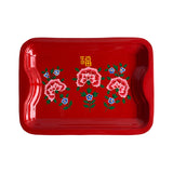 STEEL HAND PAINTED RECT TRAY (M) RED