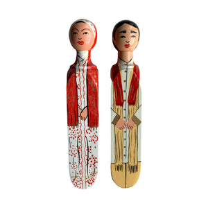 HANDPAINTED DOOR STOPPER INDIAN MAN AND MALAY WOMAN SET