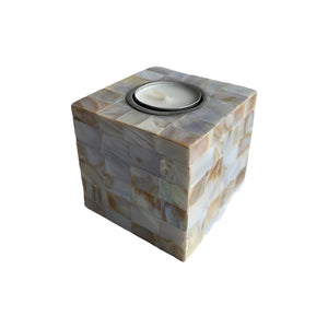 "MOTHER OF PEARL TEALIGHT 4X4"" SQUARE"