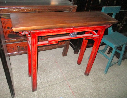 CONSOLE TABLE RED/WD TOP CH-024