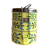 STEEL HANDPAINTED 3 TIER TIFFIN BOX YELLOW