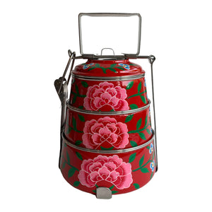 STEEL HAND PAINTED 3 TIER HANDI TIFFIN BOX RED