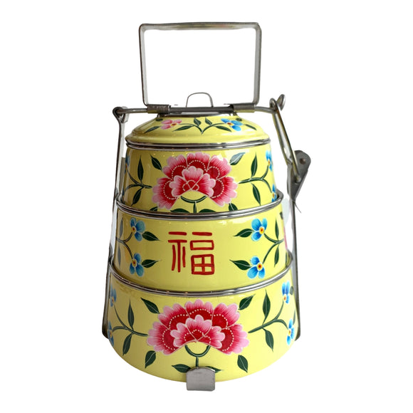 STEEL HAND PAINTED 3 TIER HANDI TIFFIN BOX YELLOW