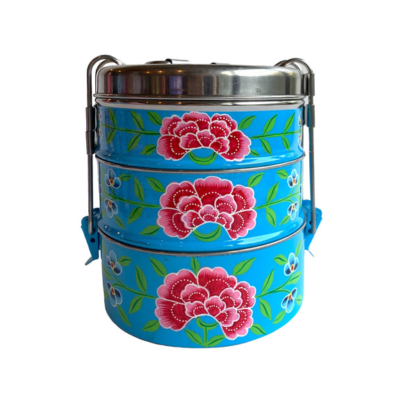 STEEL HANDPAINTED 3 TIER TIFFIN BOX BLUE