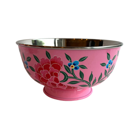 STEEL HAND PAINTED SALAD BOWL 20CM PINK