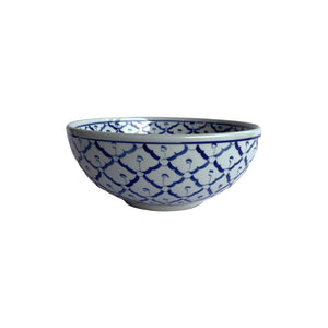 B/W PINEAPPLE ROUND BOWL 8""