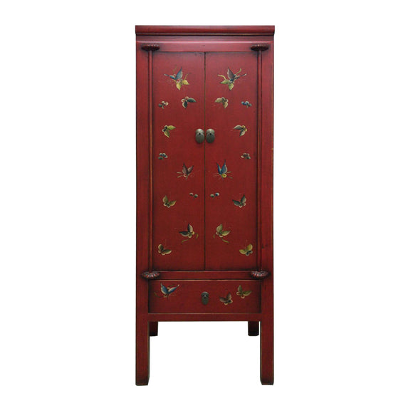 NARROW CABINET PAINTED BUTTERFLY RED 3CH-007