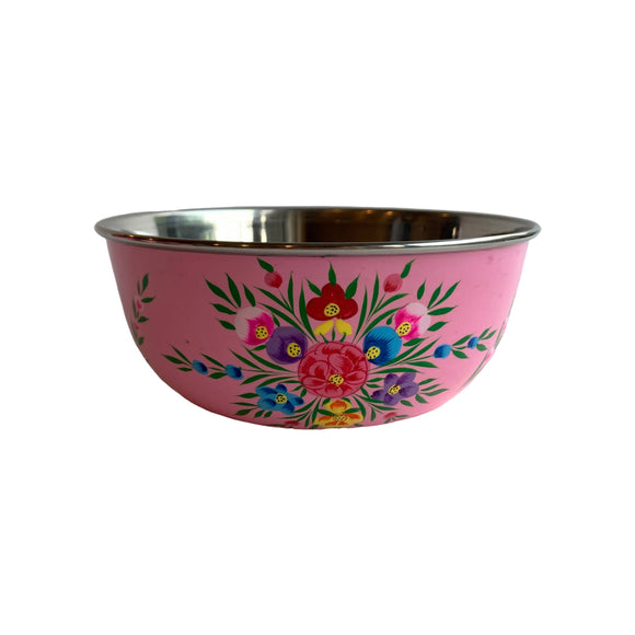 STEEL HANDPAINTED FRUIT BOWL 18CM PINK