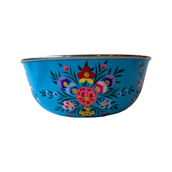 STEEL HANDPAINTED FRUIT BOWL 18CM BLUE