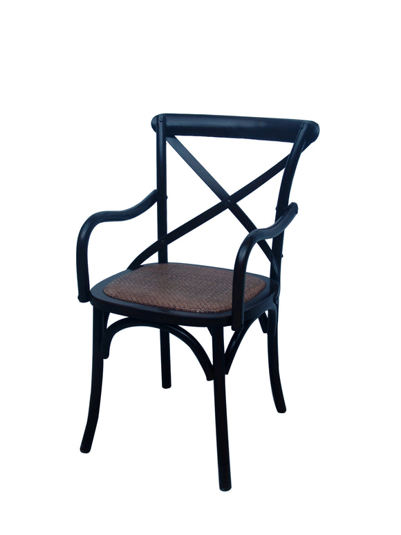 CHAIR DINING W ARM CROSSBACK BLACK MQZ-208