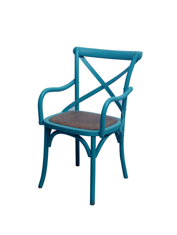 CHAIR DINING W ARM CROSSBACK TURQUOISE MQZ-208