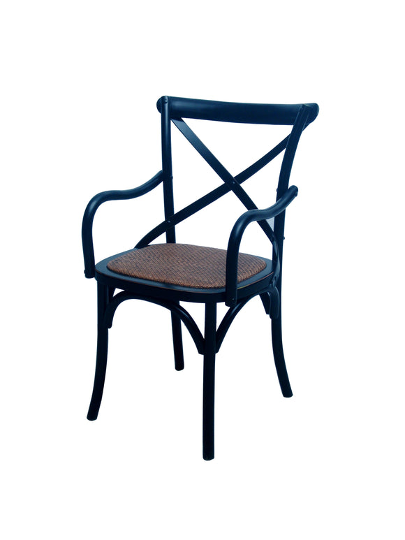 CHAIR DINING W ARM CROSSBACK DARK WOOD MQZ-208