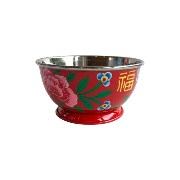 STEEL HANDPAINTED SMALL BOWL 12CM RED