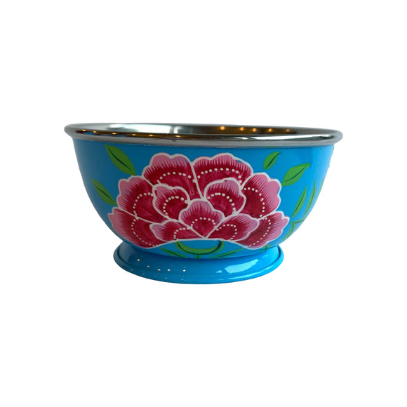 STEEL HAND PAINTED SALAD BOWL 20CM BLUE