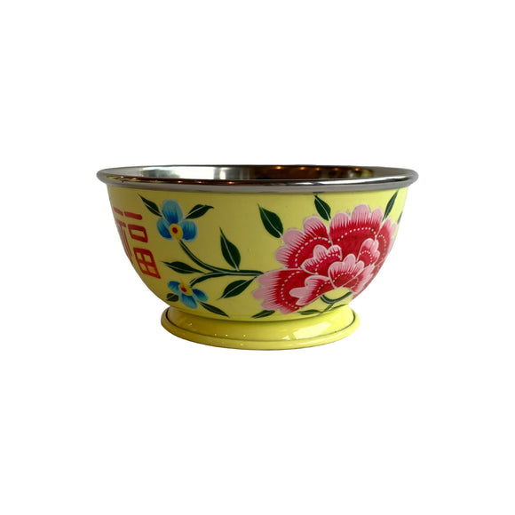 STEEL HANDPAINTED SMALL BOWL 12CM YELLOW