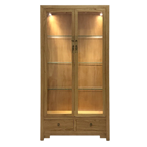 GLASS CABINET 2DW2DR W/ LIGHTING ORIGINAL WOOD MQZ-16