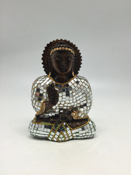 WOOD GAUTAM BUDDHA SITTING FULL CHADDER MIRROR WORK 6""